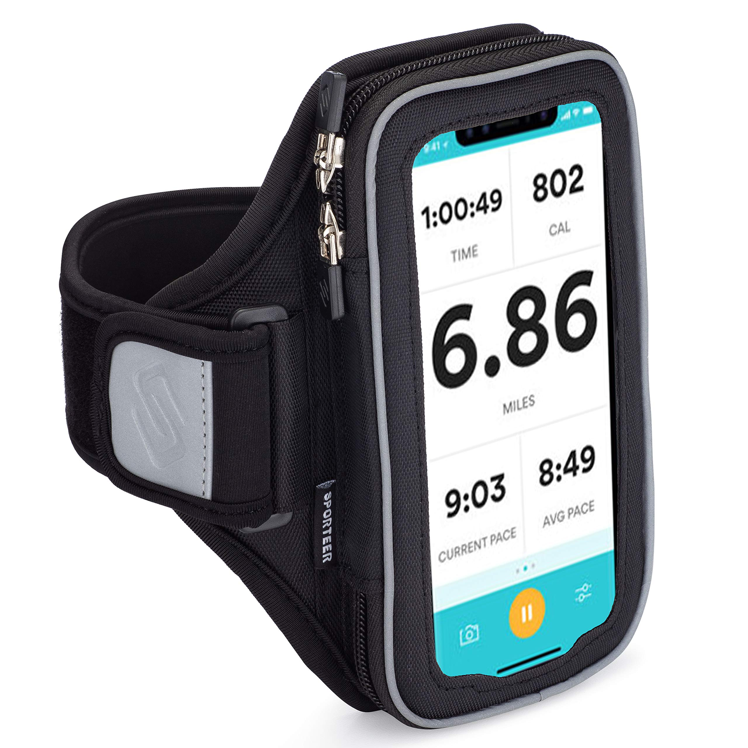 Sporteer Velocity V6 Running Armband - Compatible with iPhone 11, XR, 11 Pro, Xs, 8, 7, Galaxy Note 10, Galaxy S10, S10e, S9, S8, Pixel 3, 3a, LG, Moto and More - Fits Most Cases (Small/Medium) by Sporteer