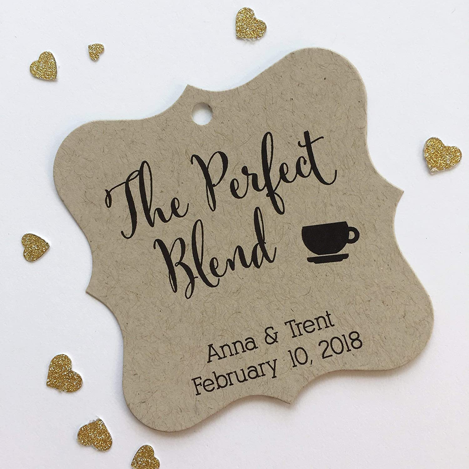 The Perfect Blend Kraft Favor Tags, Coffee Cup Wedding Favor Tags, Wedding Hang Tags (FS-097-KR)