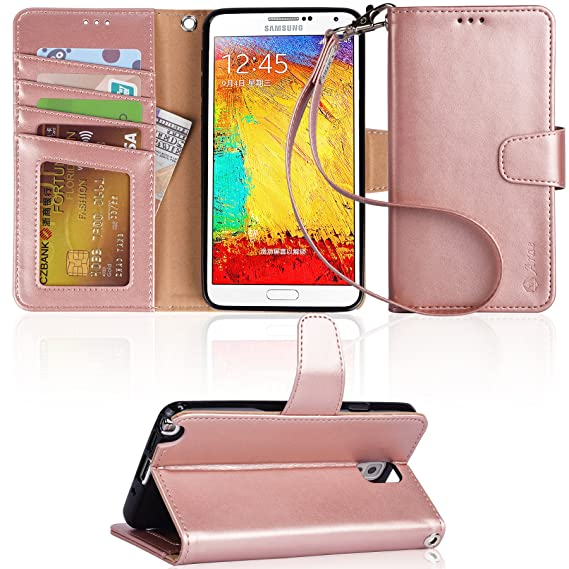 on sale 7c607 5c8bd Arae Wallet Case Compatible for Samsung Galaxy Note 3 with Kickstand and  Flip Cover - Rose Gold