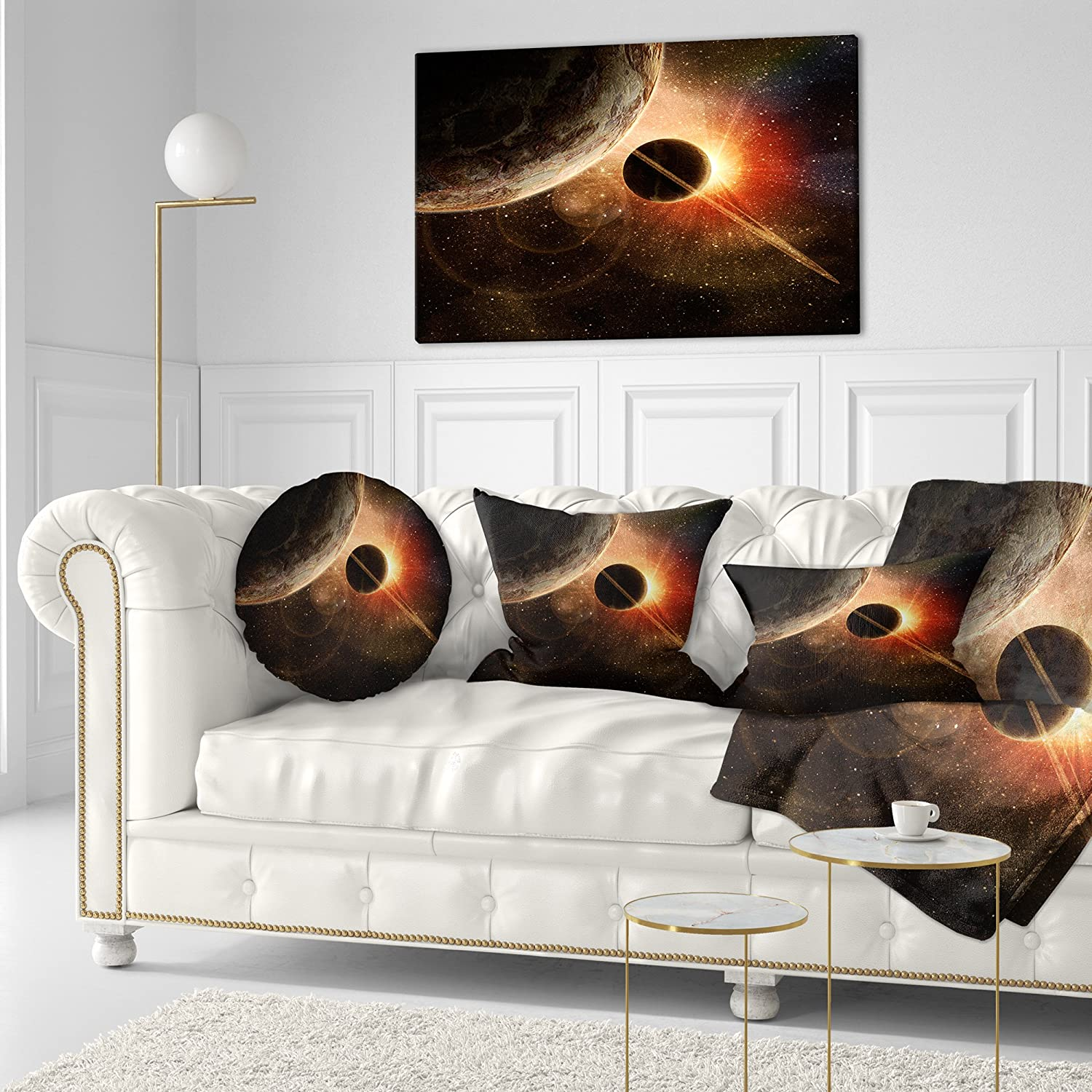 Sofa Throw Pillow 16 Designart CU6745-16-16-C Planet with Rings Contemporary Round Cushion Cover for Living Room