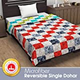 Divine Casa Natty Abstract Microfibre Reversible Single Dohar/Blanket - Lime Green and Red