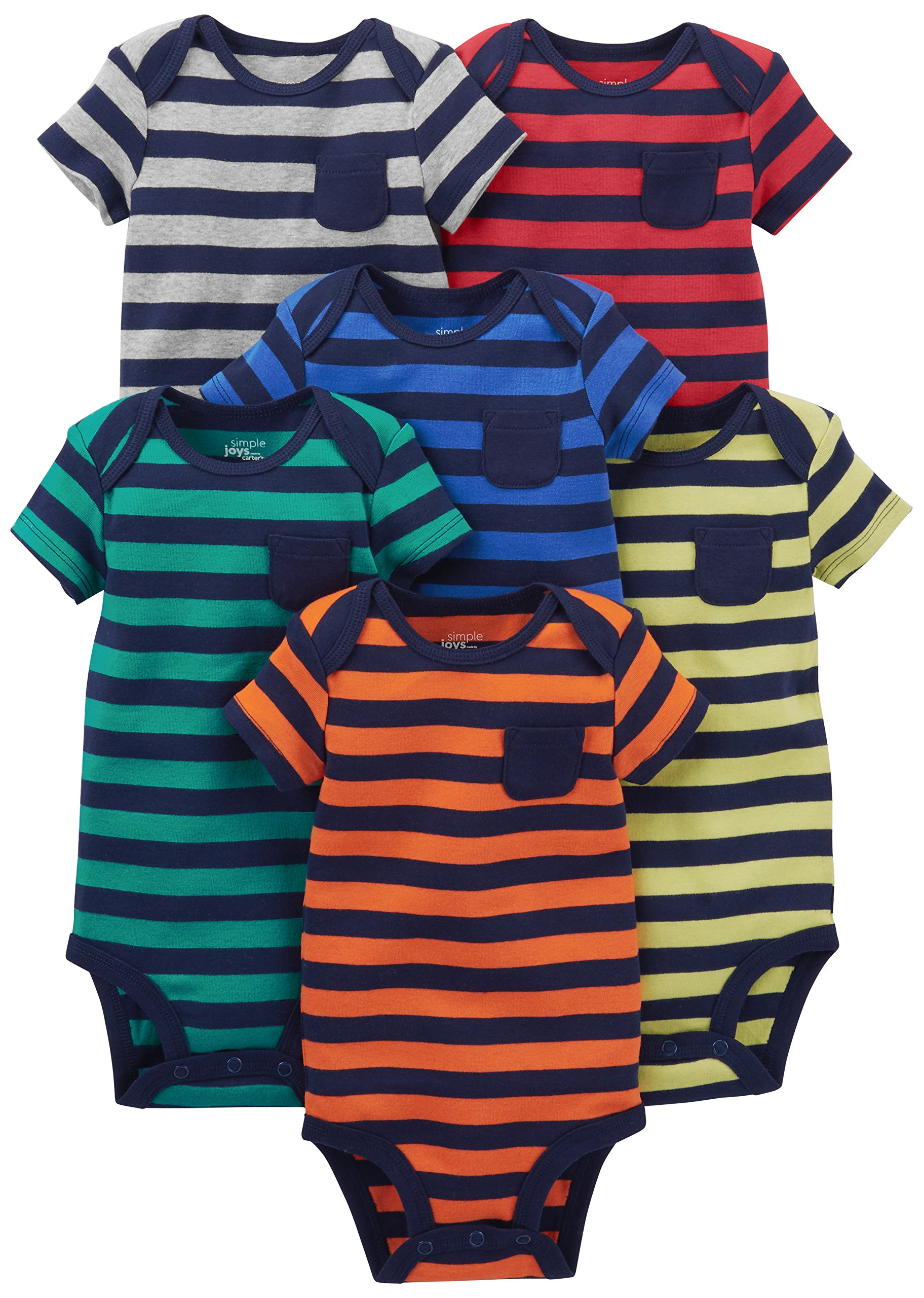 Simple Joys by Carter's Baby Boys' 6-Pack Short-Sleeve Bodysuit, Stripes, 3-6 Months