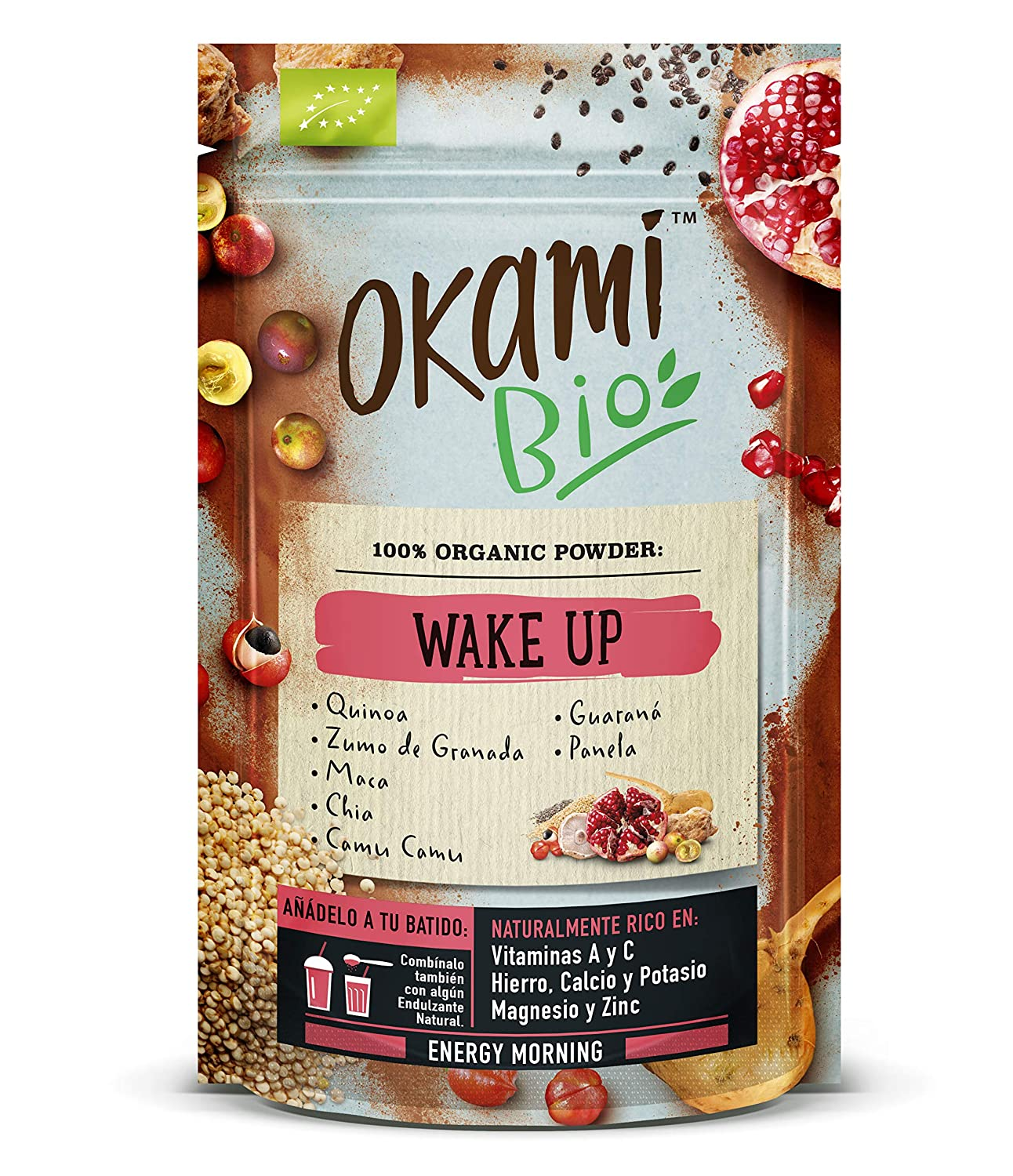 Okami Bio Wake up Superfood Powder Mix 200gr | Mezcla Vegana Orgánica de Quinoa, Granada, Maca, Chia, Camu Camu y Guaraná | Todos los nutrientes ...