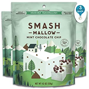 Mint Chocolate Chip by SMASHMALLOW | Snackable Marshmallows | Gluten Free | Non-GMO | Organic Cane Sugar | 100 Calories | Pack of 3 (4.5 oz)