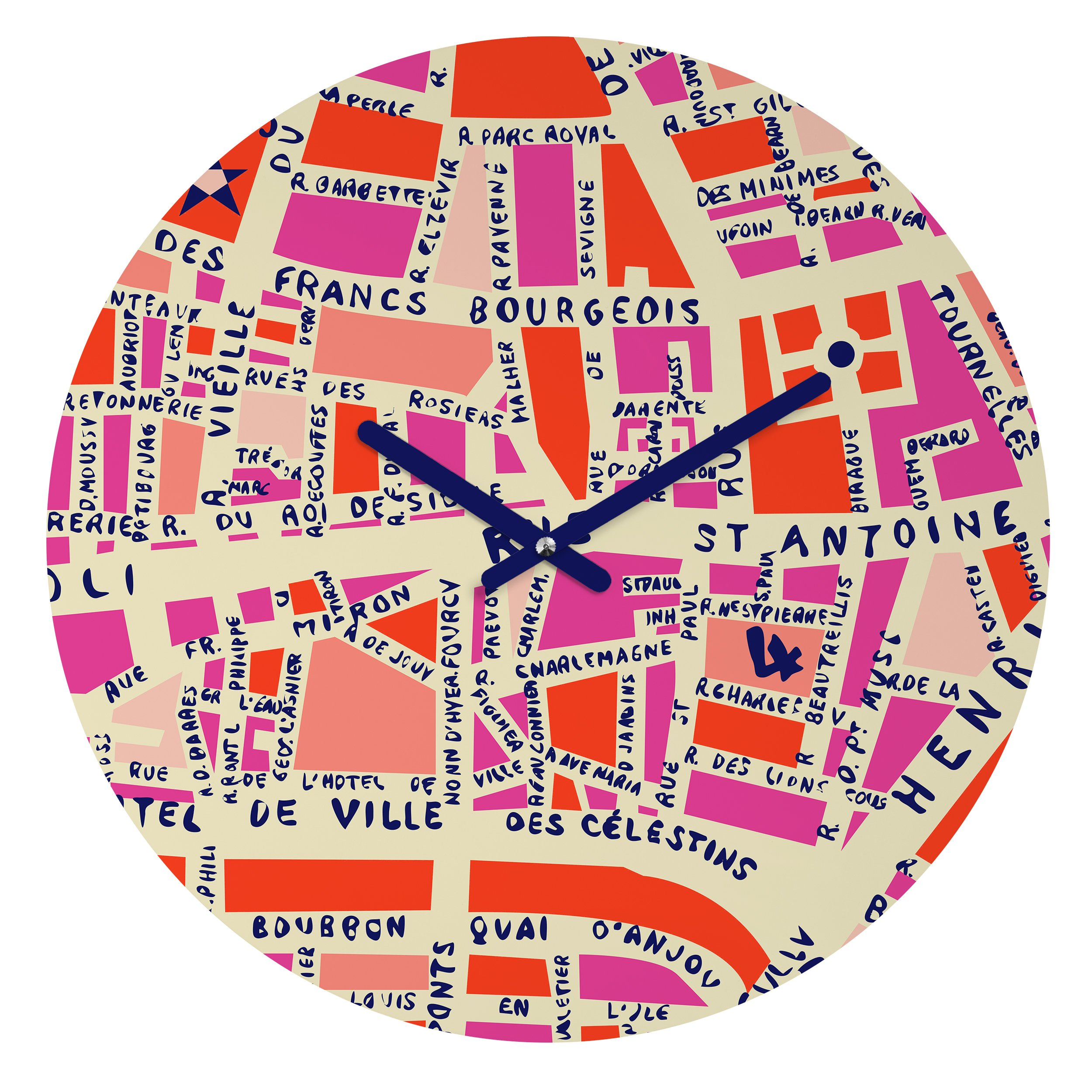 Deny Designs Holli Zollinger,  Paris Map Pink , Round Clock, Round, 12''