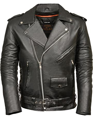 b87154b7c3 MILWAUKEE LEATHER Men's Classic Side Lace Police Style Motorcycle Jacket ( Black, 4X-Large