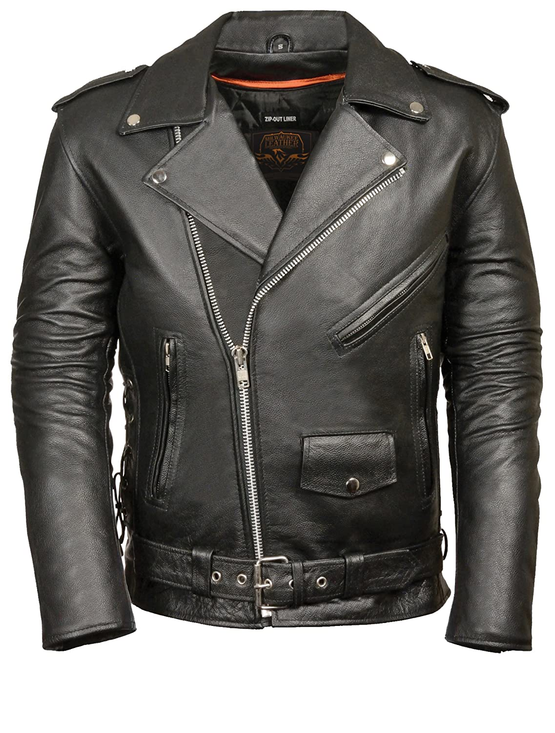 MILWAUKEE LEATHER Men's Classic Side Lace Police Style Motorcycle Jacket (Black, X-Small) SH1011-XS-BLACK