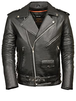 MILWAUKEE LEATHER Men's Classic Side Lace Policy Style Motorcycle Jacket