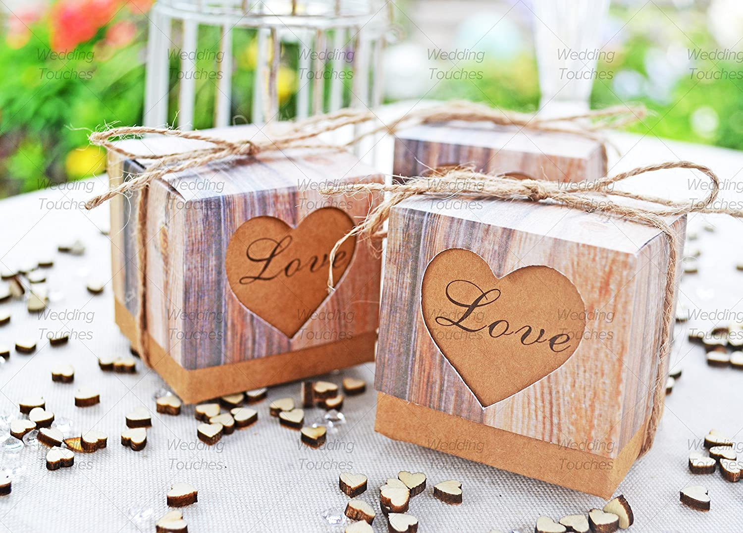 Amazon.com: Wedding Touches Pack of 100 Rustic Love Hearts Vintage Shabby-Chic Wedding Favour Boxes (100): Home & Kitchen