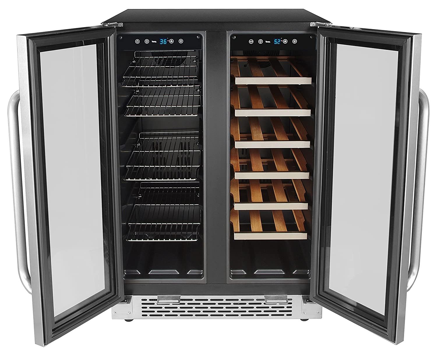Whynter Cooler BWB-2060FDS 24 Built-in French Door Dual Zone 20 Bottle Wine Refrigerator 60 Can Beverage Center, Stainless Steel, One Size,