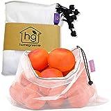 Reusable Produce Bags | Bulk Set of 9 | Keeps Vegetables Fresh | Made of See Through Mesh Polyester
