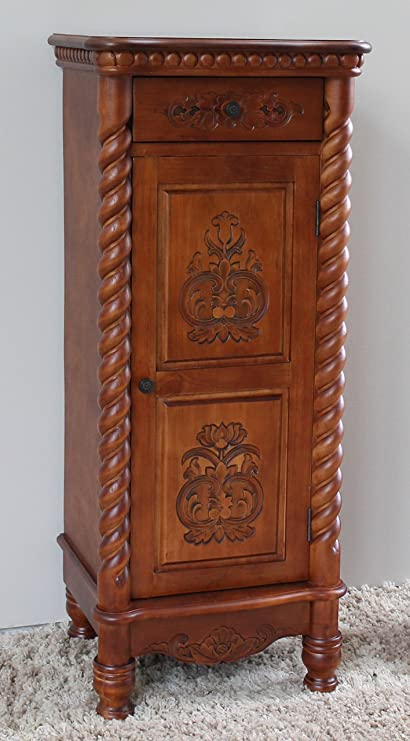 International Caravan Hand Carved Indoor 2 Drawer Tall Wood Cabinet