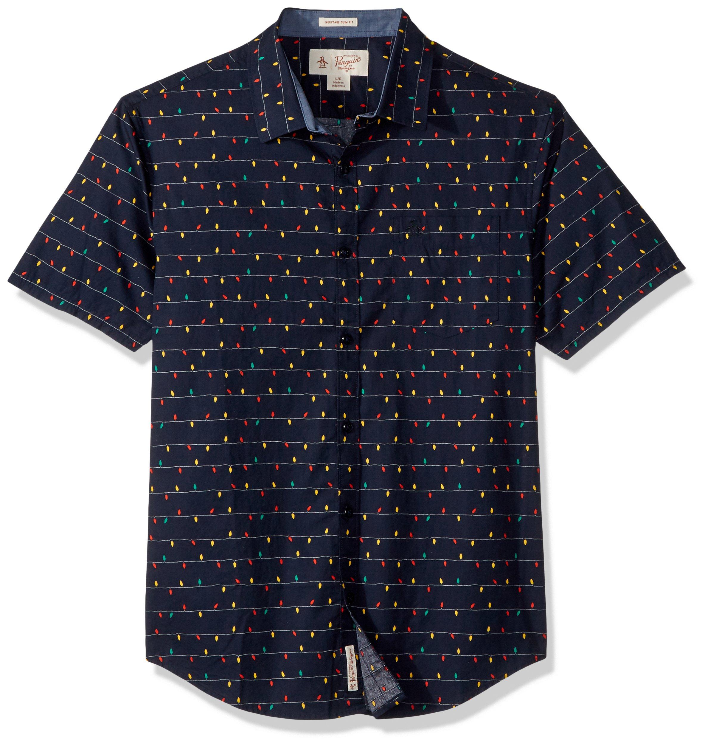 Original Penguin Men's Short Sleeve Holiday Lights Shirt, Dark Sapphire, Medium