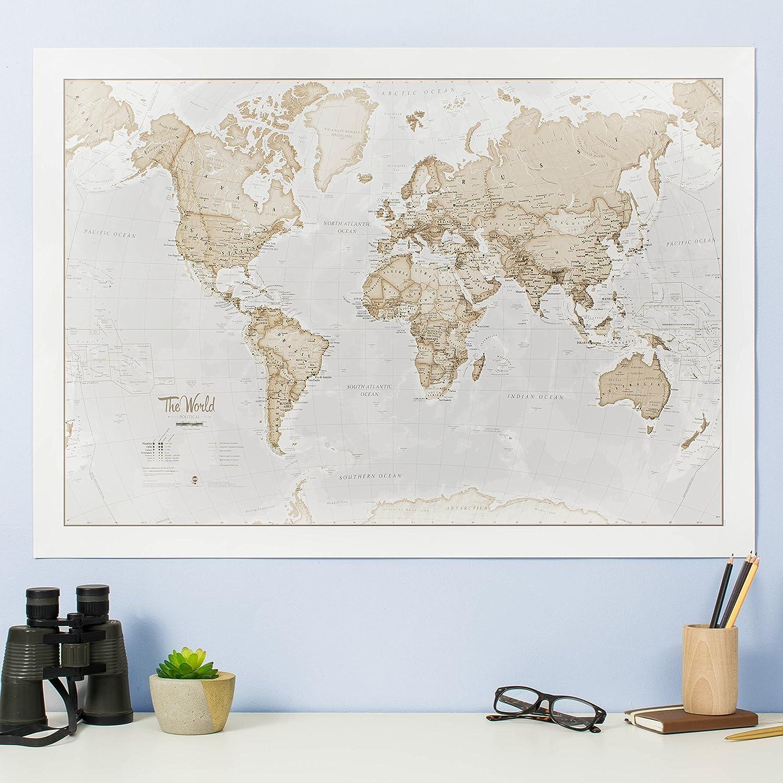 Amazon world map art neutral silk art print posters prints gumiabroncs Choice Image