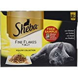 Sheba Fine Flakes Cat Pouches Poultry Collection in Jelly, 12 x 85 g - Pack of 4 (Total 48 Pouches)