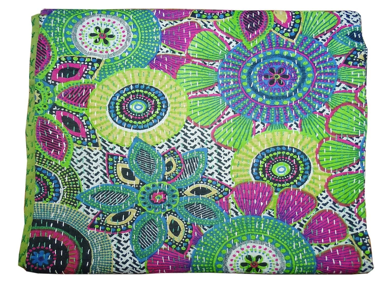 Bhavya International Multi Color Cotton Kantha Quilt Handmade Bedspread Throw Twin Size Floral Bedcover Blanket Gudari Throw