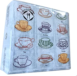 40-ct 5x5 Coffee Napkins Cup Decoupage Napkins Decorative Paper Napkins for Decoupage Tea Party Napkins Latte Paper Napkins Disposable Napkins Birthday Napkins for Adults Mother's Father's Day Napkins