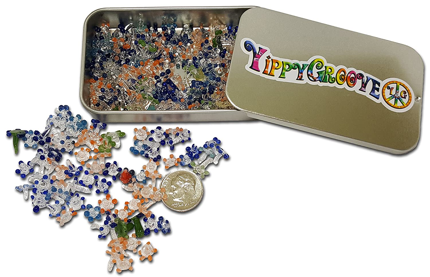 Glass Pipe Screen ~ 200, 100, 50, or 25 Pieces Exceptional Daisy Screens in a Limited Edition YippyGroove StashTin-for a Cleaner, Safer, Ash-Free Smoke (200)