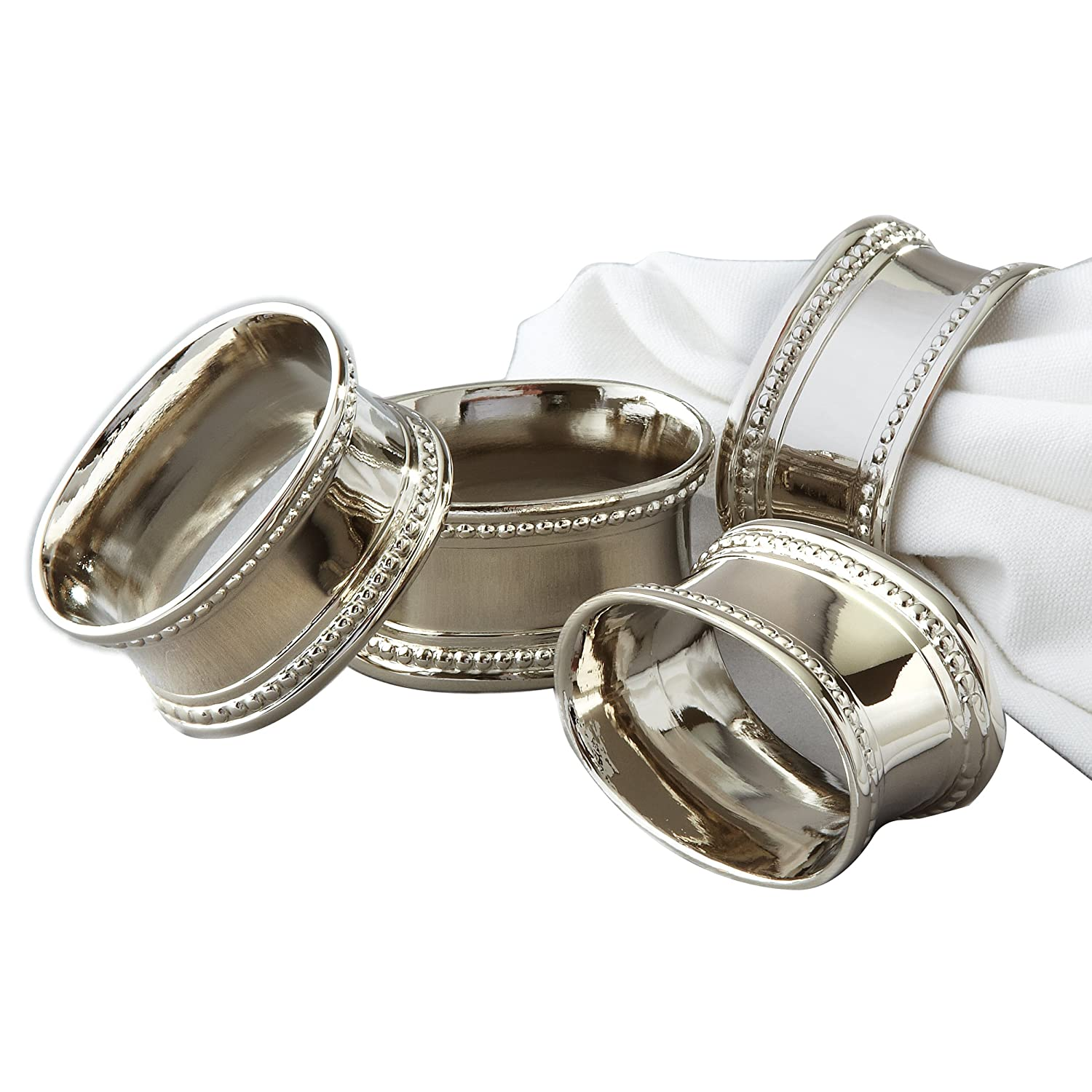 Elegance Beaded Round Napkin Rings, Silver-Plated, Set of 4 Leeber Limited USA 82214