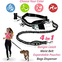 PREMIUM Hands Free Dog Leash | Bungee Dog Leash for Walking & Running with Small, Medium or Large Dogs | Reflective Waist Belt for Phone, Keys and Cards |BONUS Collar Bag Dispenser |Great GIFT