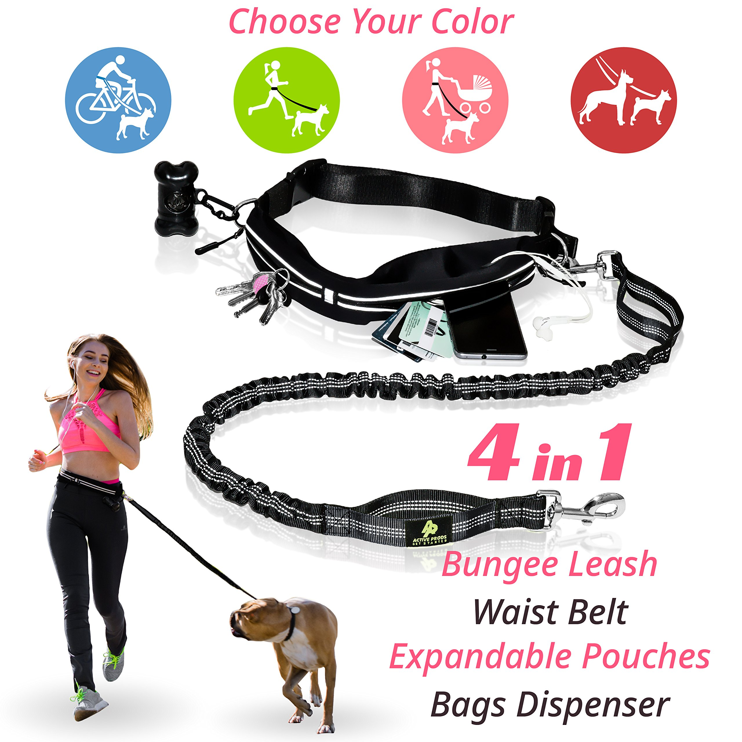 PREMIUM Hands Free Dog Leash | Bungee Dog Leash for Walking & Running with Small, Medium or Large Dogs | Reflective Waist Belt for Phone, Keys and Cards |BONUS Collar Bag Dispenser |Great GIFT (BLACK)