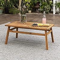 Deals on Walker Edison Outdoor Patio Wood Chevron Rectangle Table