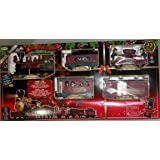 Santa's North Pole Express Holiday Christmas Train Set,Wireless Remote Control Set Home Accents
