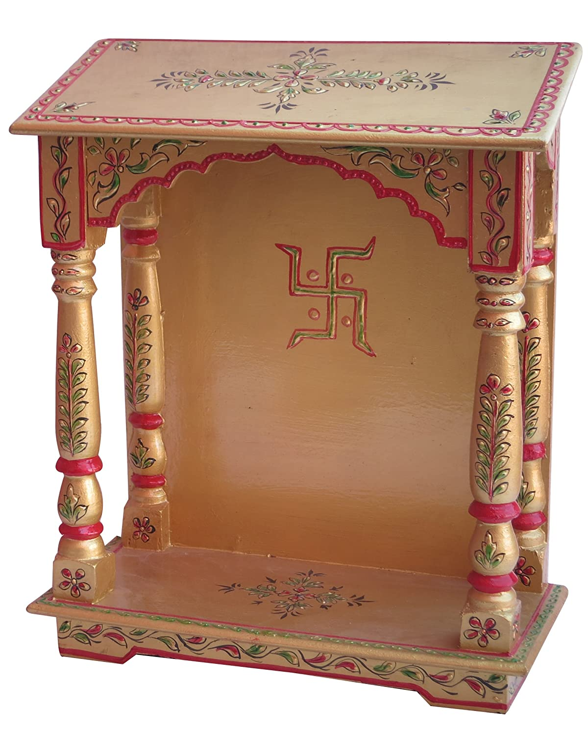 Wood Temple Puja Mandir Temple For Home Pooja Mandir Pooja Mandir For Home With Swastika Made With Wood And With Decorative Art Golden Work