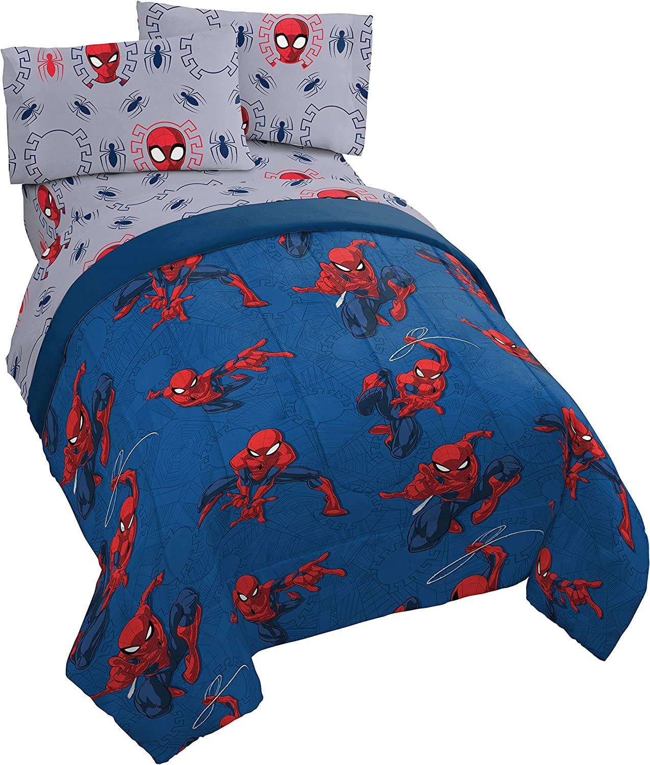 Jay Franco Marvel Spiderman Spidey Crawl 5 Piece Full Bed Set - Includes Reversible Comforter & Sheet Set - Super Soft Fade Resistant Polyester - (Official Marvel Product)…