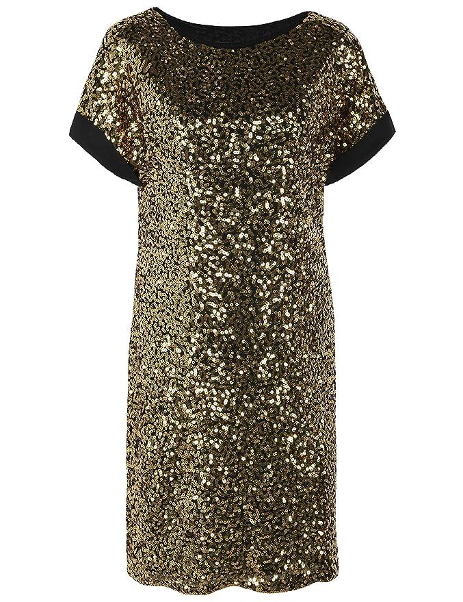 PrettyGuide Damen Pailletten Cocktailkleid Lose Glitter Tunika Party Shift Dress