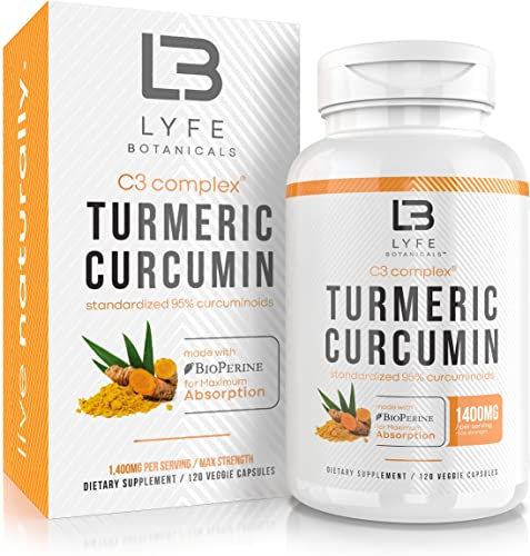 Turmeric Curcumin C3 Complex with BioPerine Black Pepper Extract – Anti-Inflammatory Joint Support Supplement – Max Strength 95 Curcuminoids – 120 Veggie Capsules 2 Month Supply