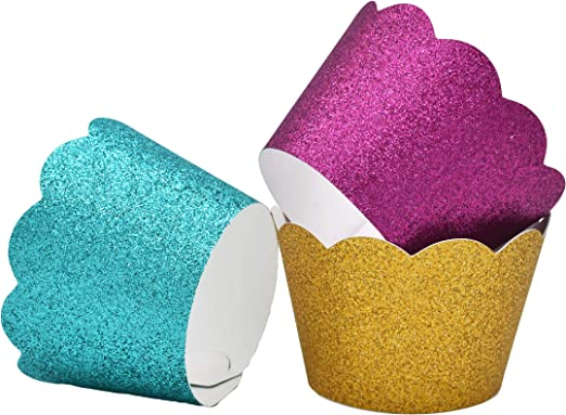 Small Gold Glitter Cupcake Wrappers Scalloped Style 36 Mini