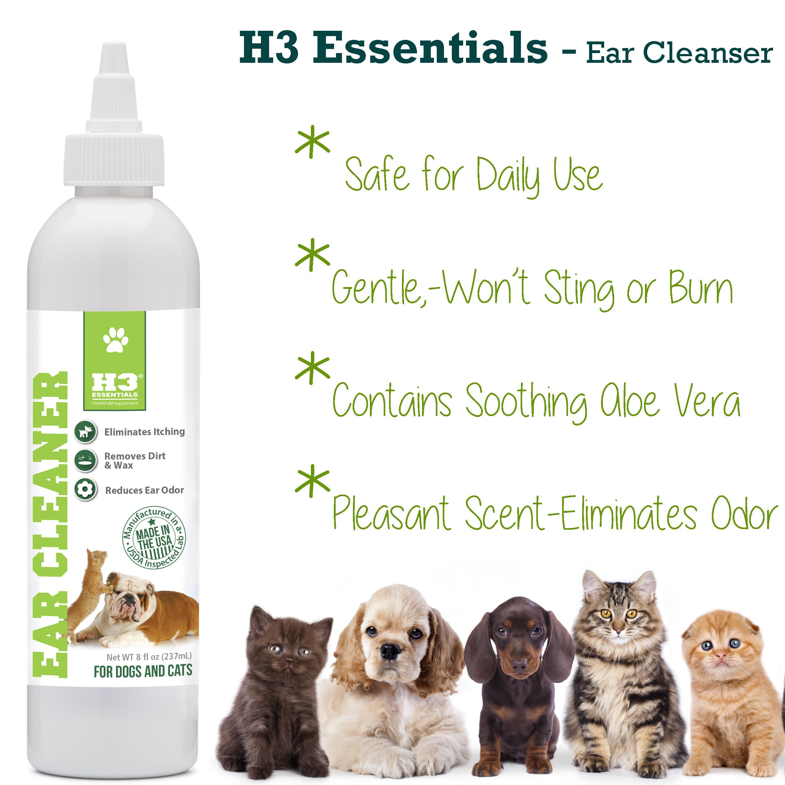 H3 Essentials Dog Ear Cleaner For Dogs and Cats with Aloe - Prevents Infection, Cleans and Dries Pets Ears - 8 oz by H3 Essentials (Image #2)