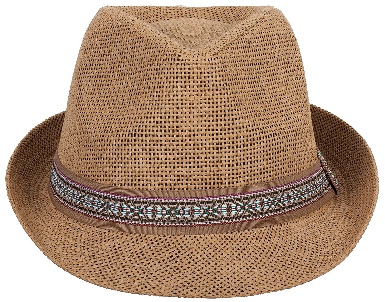 DRY77 Straw Light Fedora Hat with Aztec Pattern Brand 2d33eeb1e92