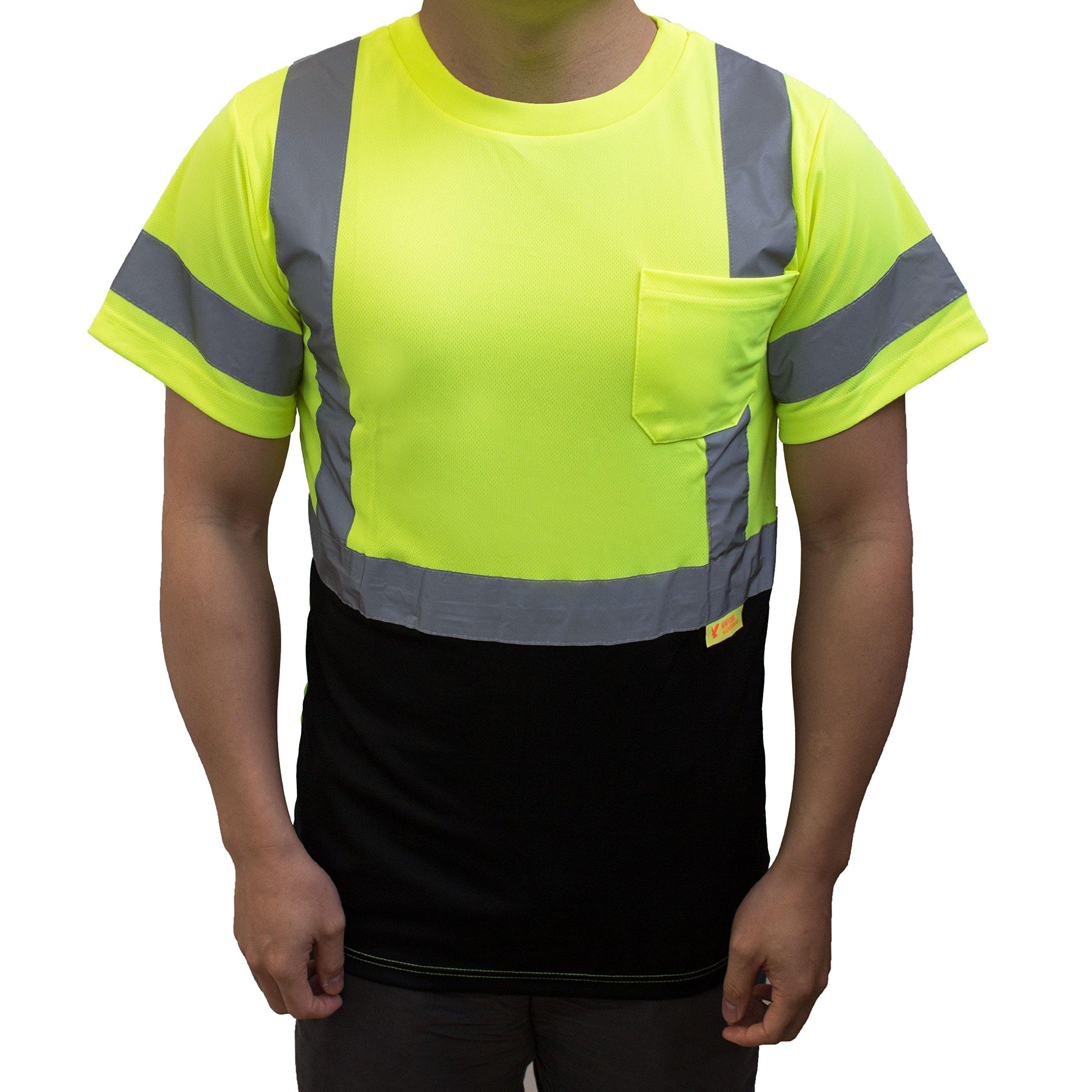 NY BFS8512 High-Visibility Class 3 T Shirt with Moisture Wicking Mesh Birdseye, Black Bottom (Large, Green) by New York Hi-Viz Workwear (Image #2)