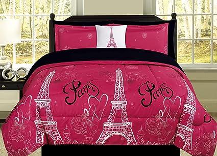 Amazoncom Full Paris Comforter Pink Black White Eiffel Tower