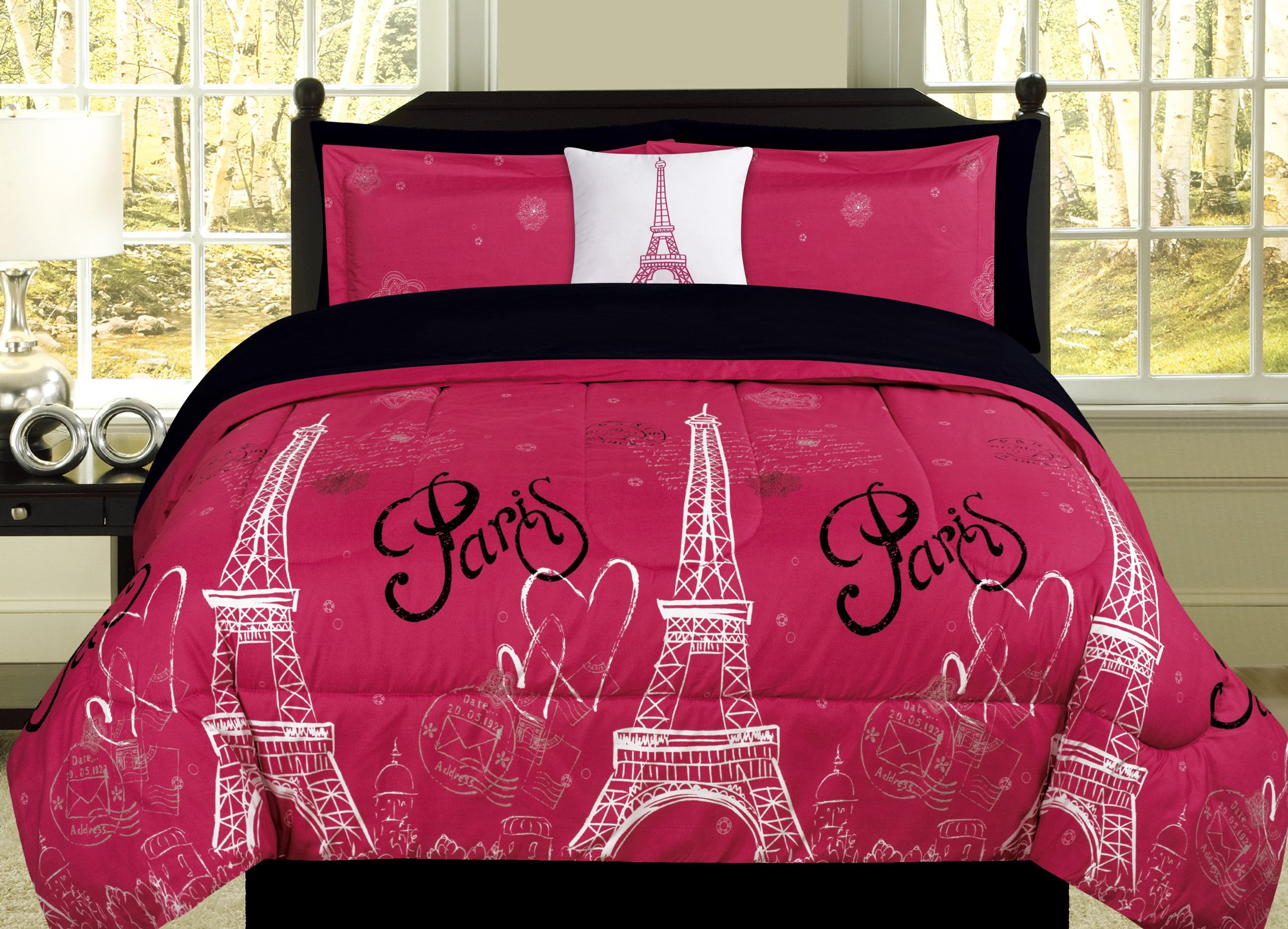 Full Paris Comforter Pink Black White Eiffel Tower Bedding and Sheet 8 Piece Bed in a Bag Set