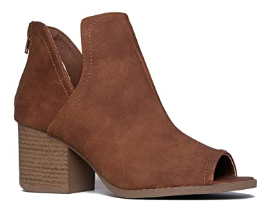 dca962b4fc4 J. Adams Tabs Western Boots - Cut Out Peep Toe Stacked Low Heel Ankle Bootie