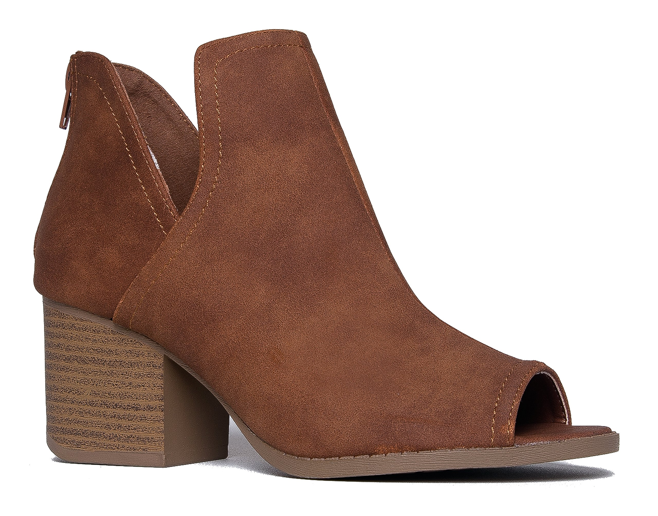 Western Low Ankle Boot, Cognac PU, 8.5 B(M) US