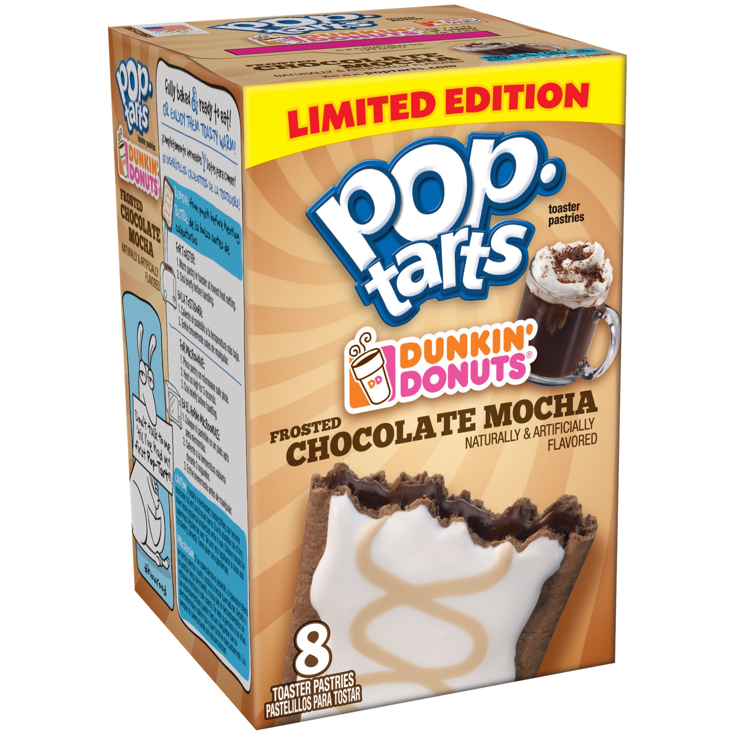 Pop-Tarts Dunkin Donuts Frosted Chocolate Mocha Toaster Pastries, 14.1 oz