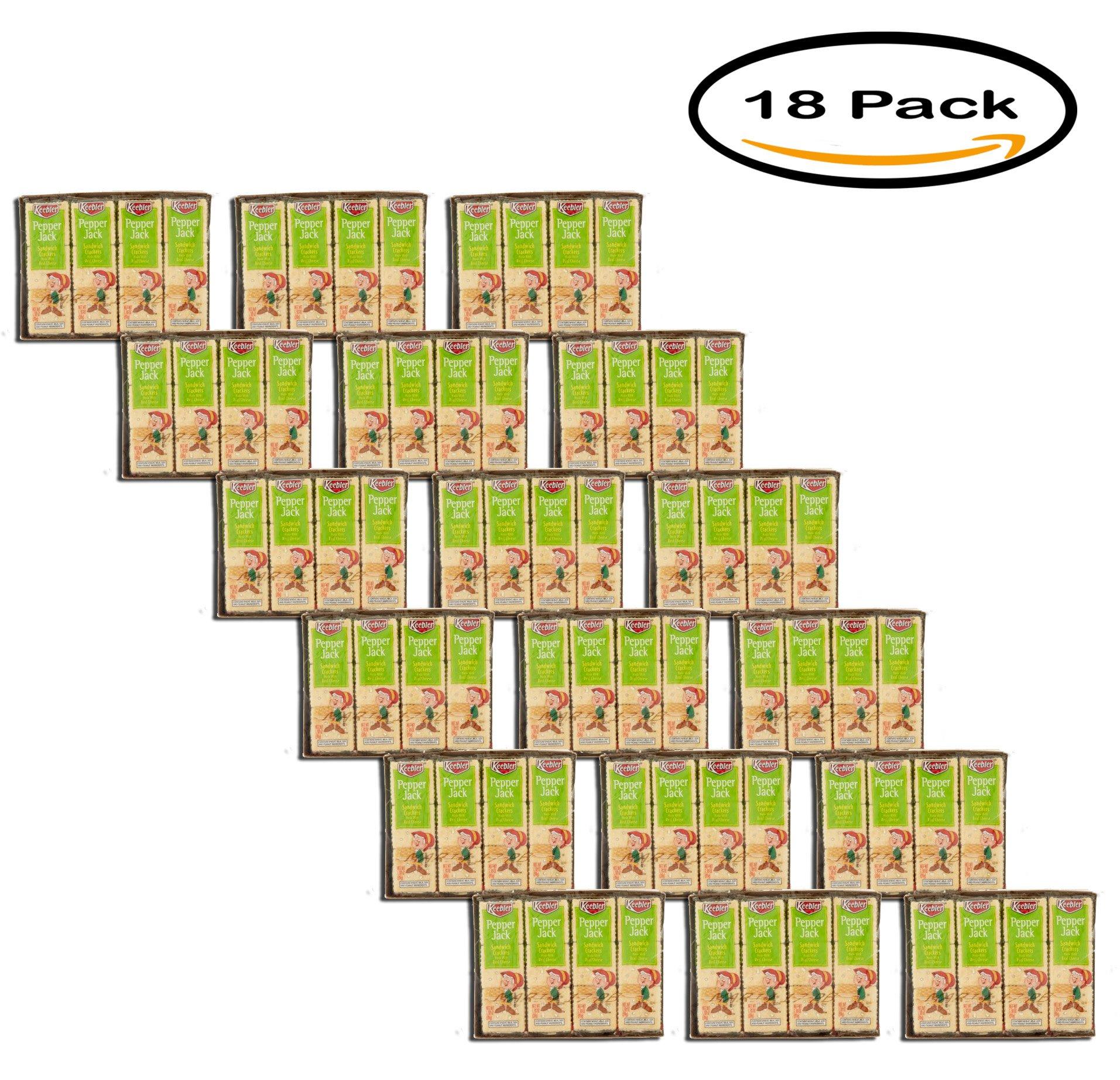PACK OF 18 - Keebler Pepper Jack Sandwich Crackers 8-1.38 oz. Packs by Keebler