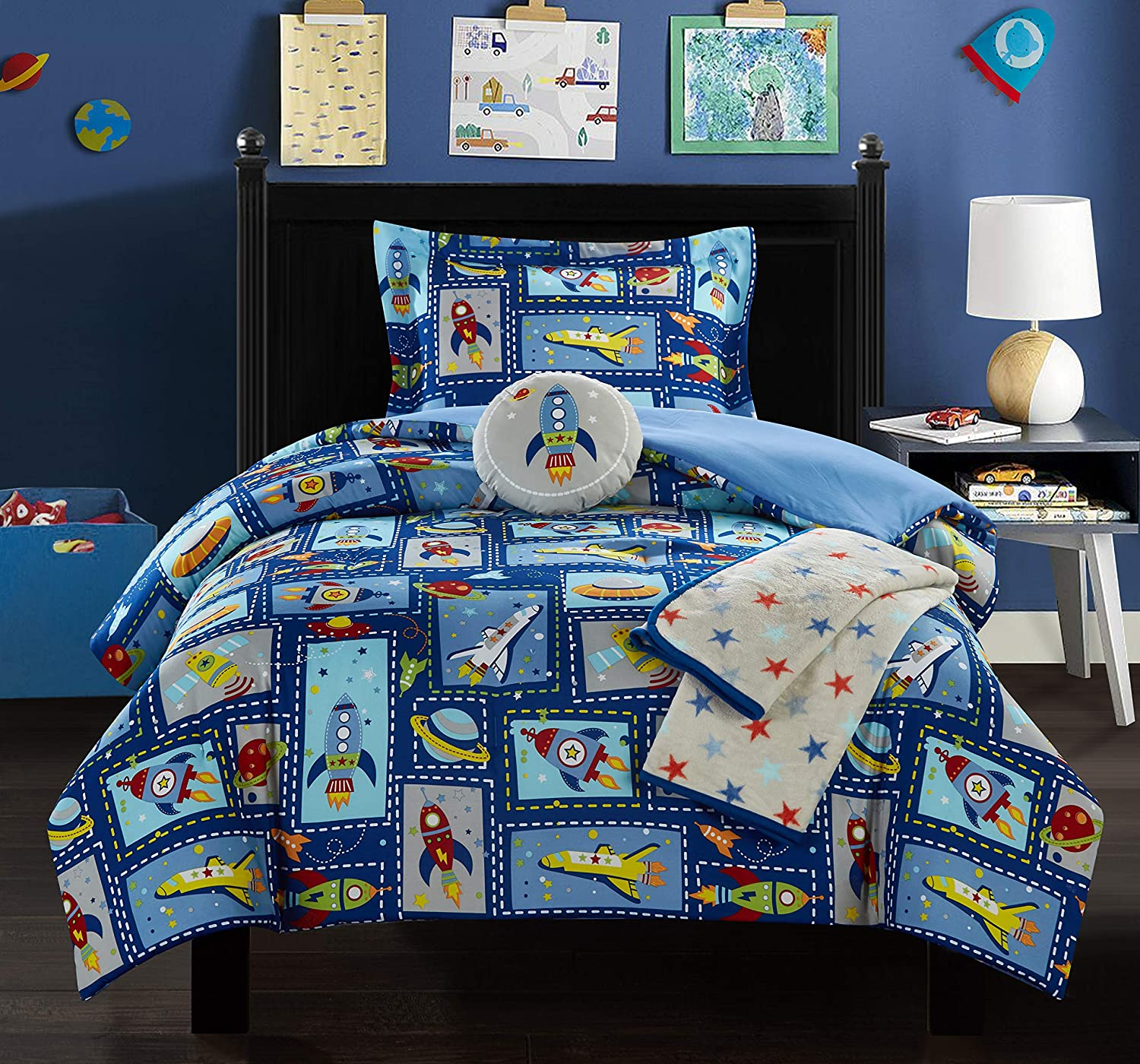 Chic Home Spaceship 5 Piece Comforter Set Space Explorer Extraterrestrial Theme Youth Design Bedding-Throw Blanket Decorative Pillow Shams Included, Full