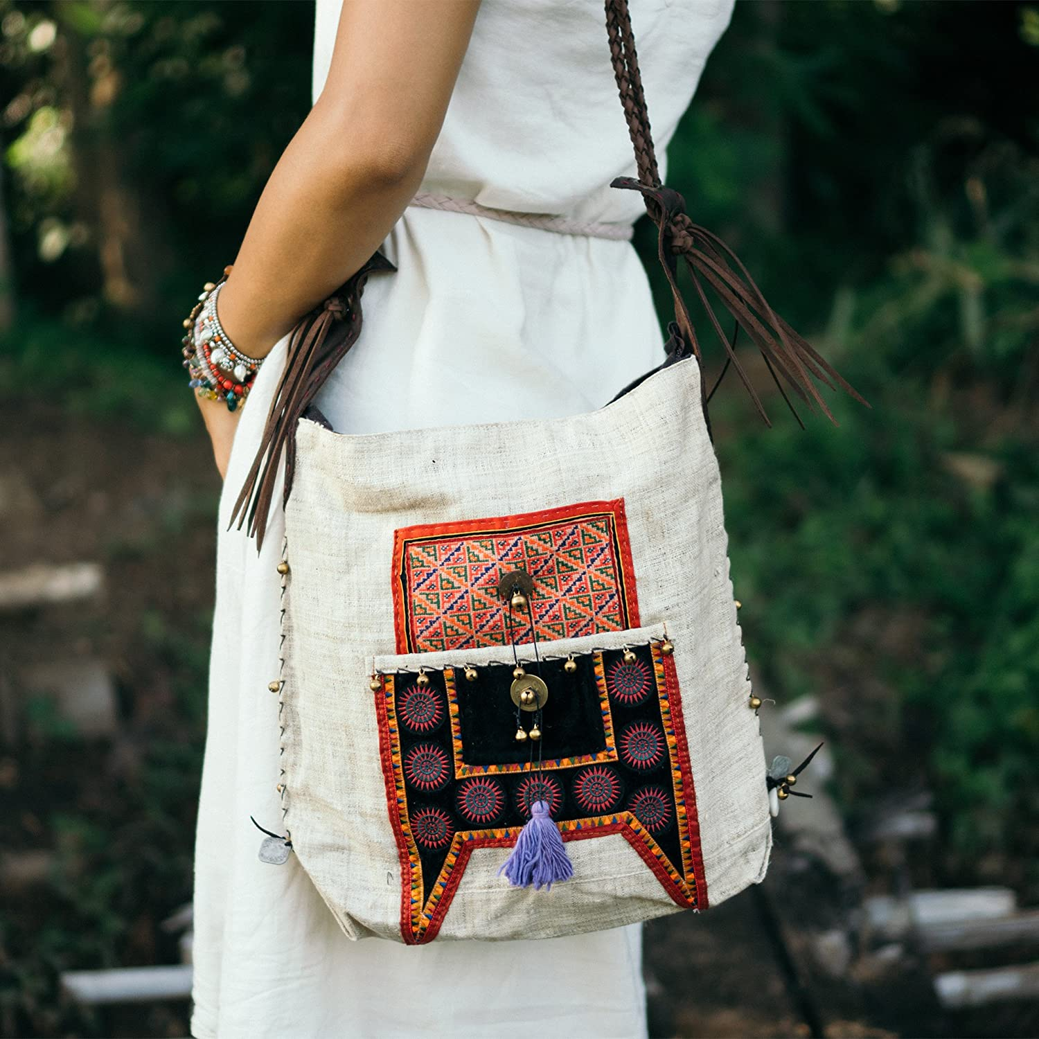 Changnoi Handcrafted Hippie Crossbody Bag with Hmong Hill Tribe Embroidered with Leather Strap, Fair Trade Boho Sling Bag for Women