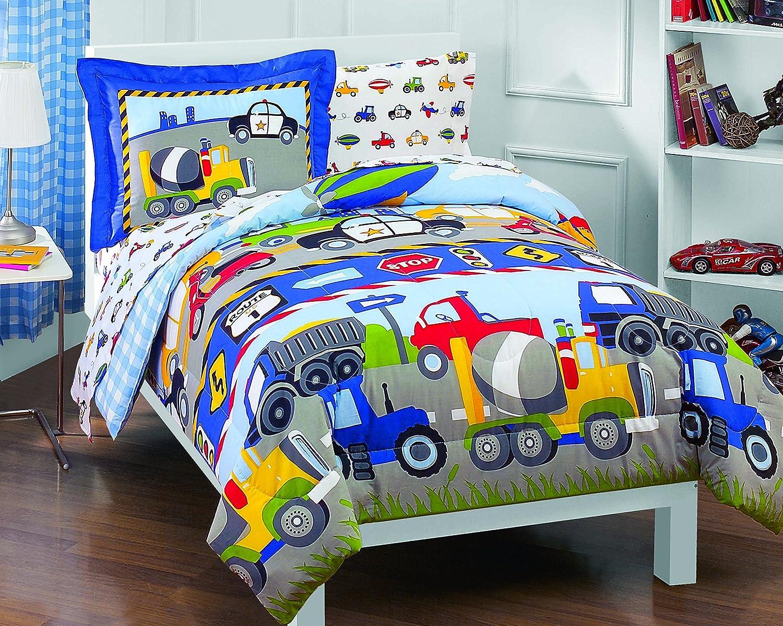 Toddler Blue Dream Factory 4 Piece Trains Bedding Set