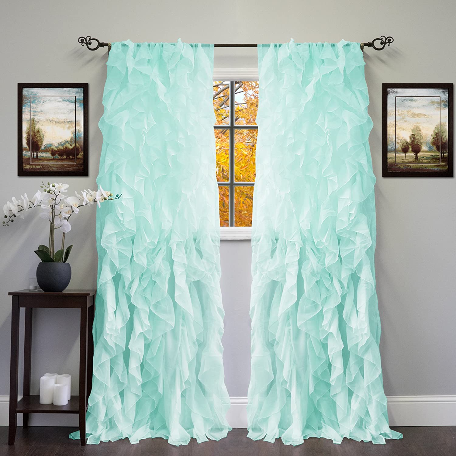 """Sweet Home Collection Sheer Voile Vertical Ruffled Window Curtain Panel 50"""" x 84"""", 84"""" x 50"""", Sea, 2 Piece"""