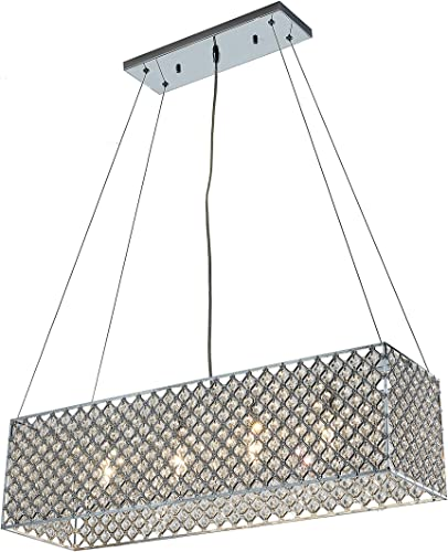 Chrome Crystal 4-Light Rectangular Adjustable-Height Chandelier
