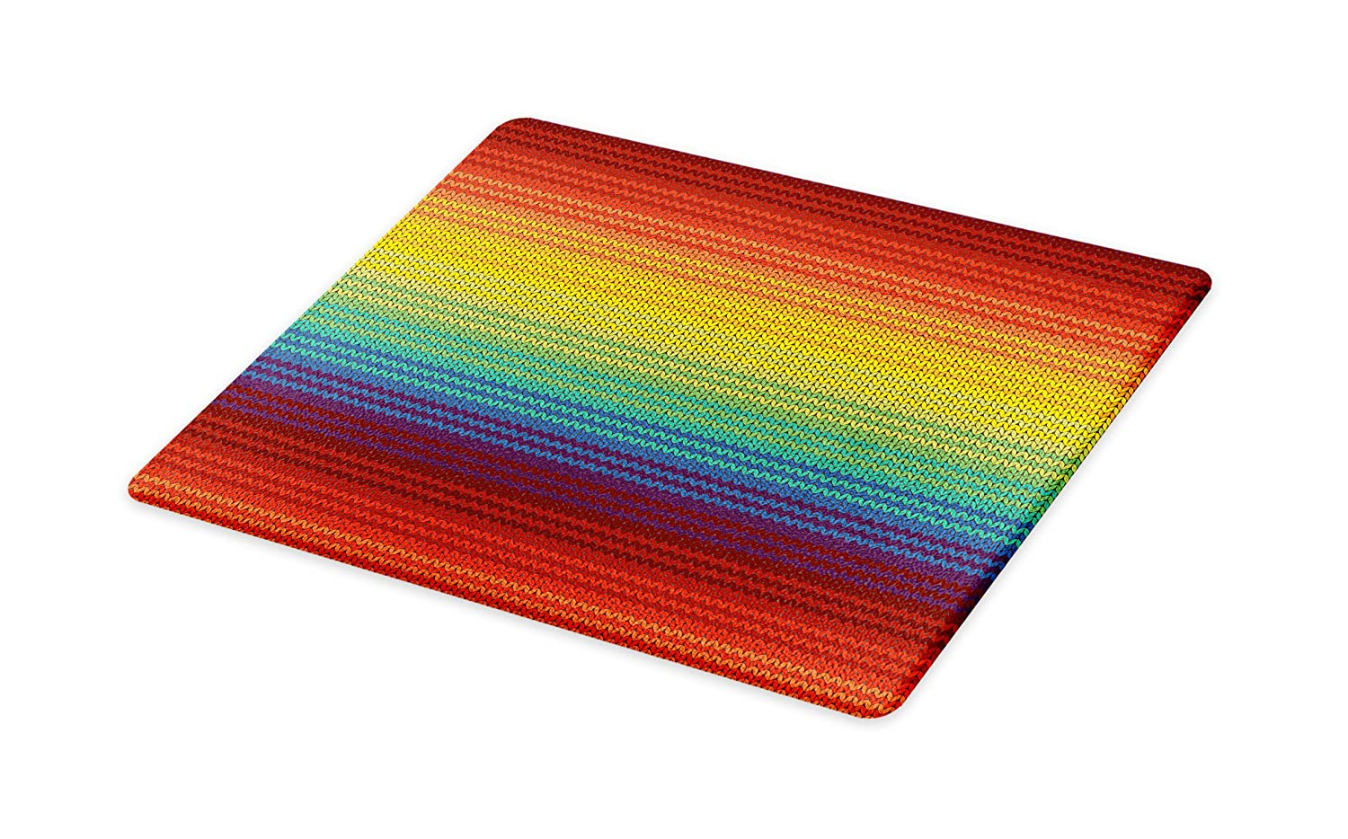 Lunarable Striped Cutting Board Small Size Decorative Tempered Glass Cutting and Serving Board Multicolor Mexican Knitting Pattern Inspired Vibrant Colored Chevron Latin American Culture