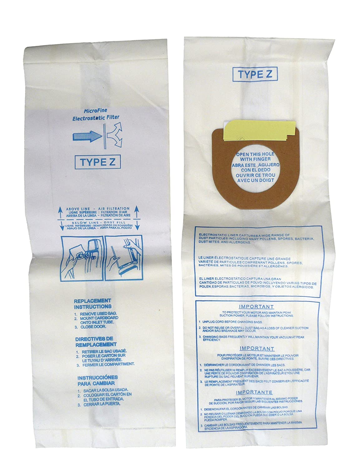 Amazon.com - Hoover Power Drive & Caddy Vac Upright Type Z Filter Paper Bags 3 Pk Part # 857 -