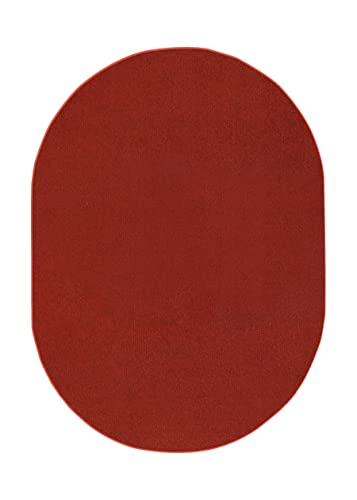 Indoor Outdoor Burgundy Area Rugs with Premium Non Skid Backing Great for Patio, Porch, Deck, Party, Garage, Boat, Event, Basement, Wedding Tents and More Available Size 5 x8 Oval