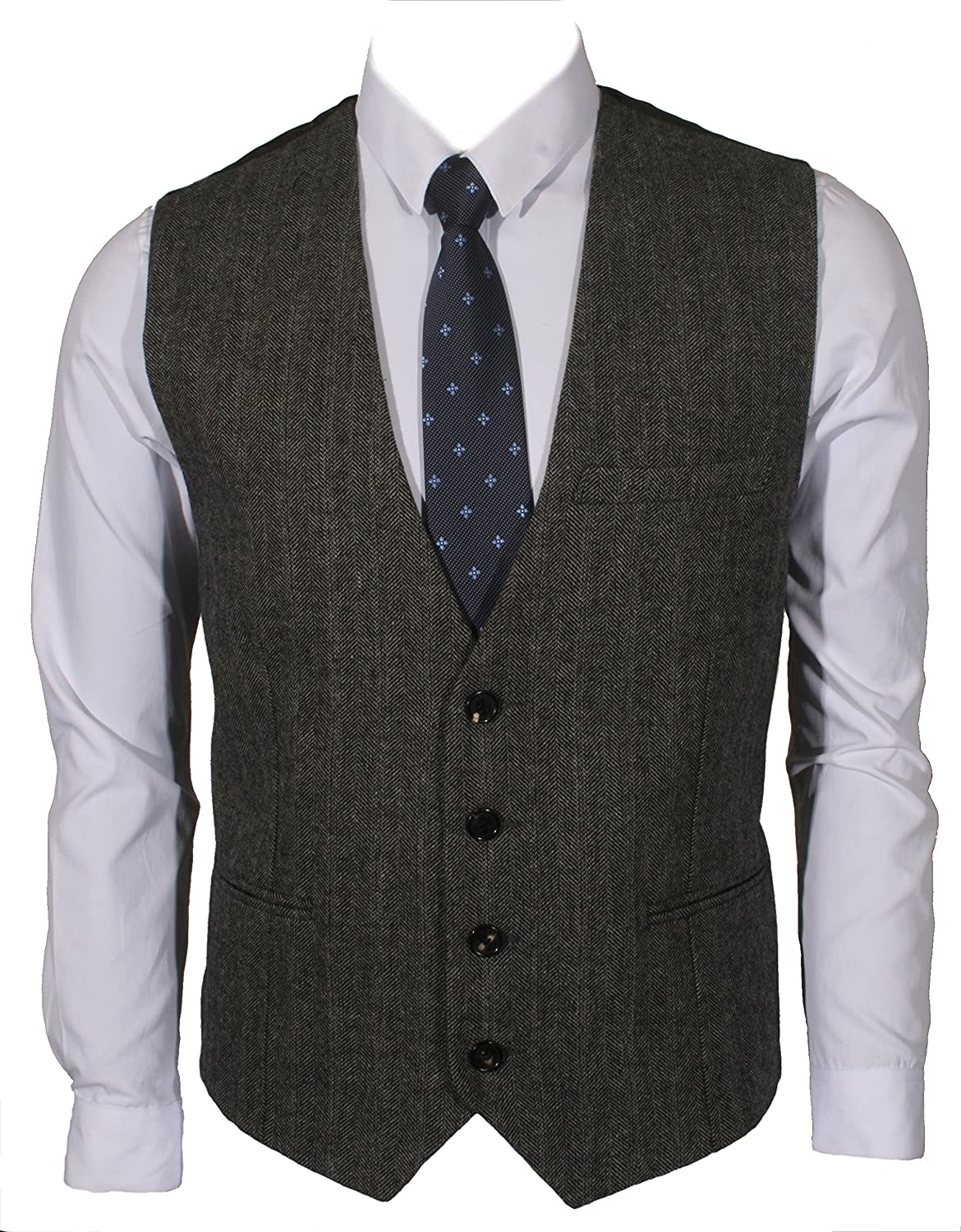e8bbf0e7ce2 Ruth Boaz 3Pockets 4Buttons Wool Herringbone Tweed Business Suit Vest at  Amazon Men s Clothing store